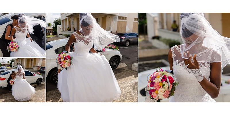 double page d'un livre album: la mariée sort de la voiture et monte les marches de l'église du Lamentin